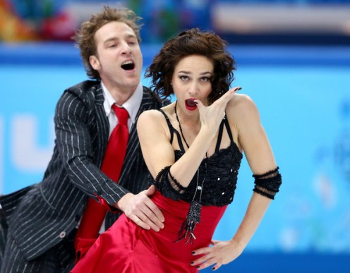 Nathalie Pechalat and Fabian Bourzat of France compete in the Figure Skating Team Ice Dance - Short Dance during day one of the Sochi 2014 Winter Olympics at Iceberg Skating Palace on February 8, 2014 in Sochi, Russia.