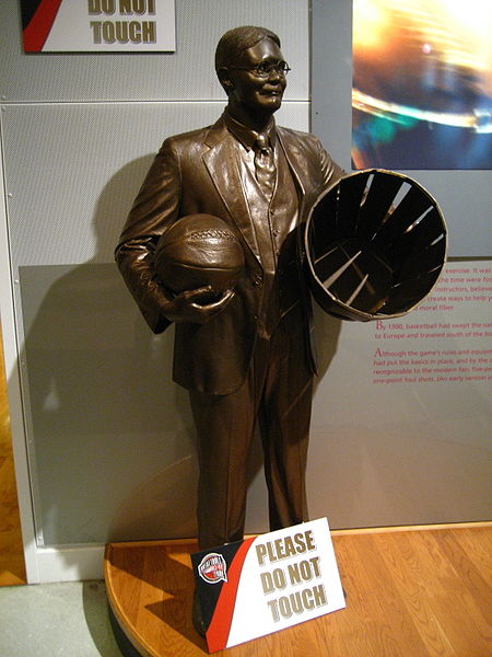 Statue of James Naismith, inventor of basketball.