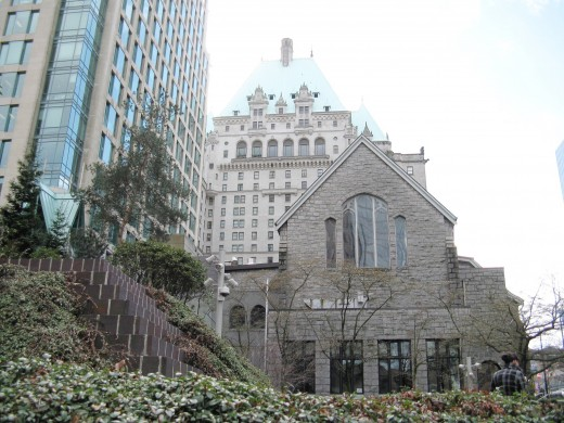 The hotel in the background and Christ Church Cathedral in the foreground