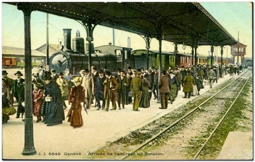 Arrival of the Simplon Express at Cornavin Station, Geneva. Circa 1906.