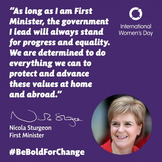 Nicola Sturgeon with slogan