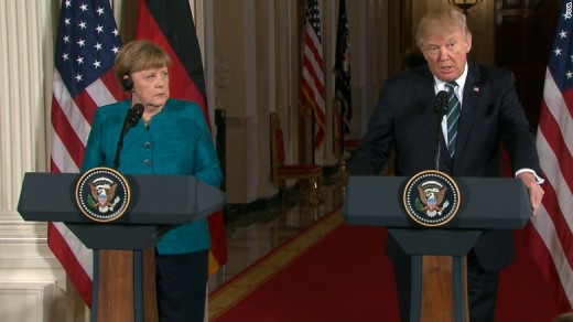 "Merkel Looking at Trump like: ""Is this guy really a President? OMG."""