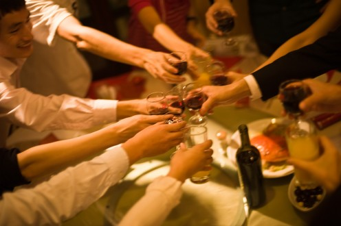 Alcohol is common in social gatherings.