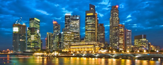 Panorama image of Singapore's Skyline at night.