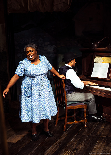 """His Eye is on the Sparrow  Maiesha McQueen as Ethel Waters with Pianist and Music Director Darius Smith in """"His Eye is on the Sparrow"""" at The Armory."""