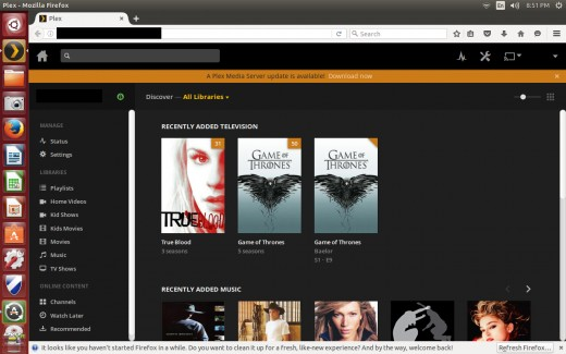 "Click ""Download Now"" in the alert that appears on your Plex home screen indicating that an update is available."