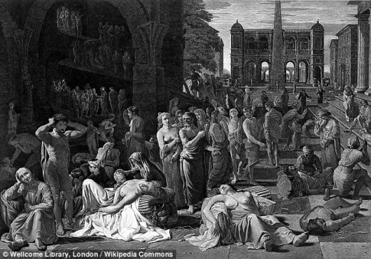 The Plague of Athens, striking down the rich and poor indiscriminately