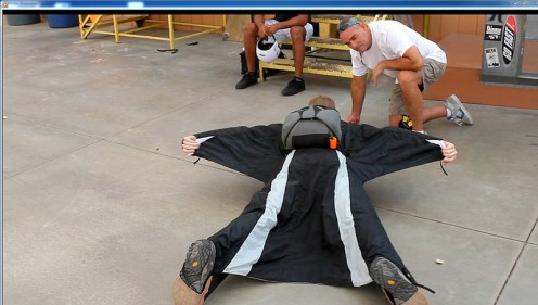 First lesson: learning to fly in a wingsuit.