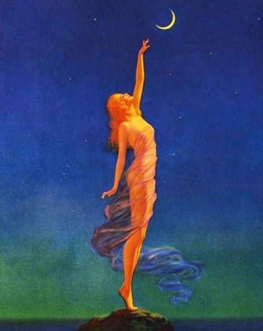 """Reaching For The Moon"" by Maxfield Parrish"