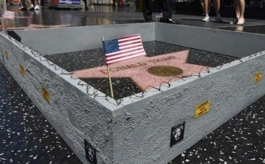 The tiny wall around Trump's star, which was erected by a street artist.