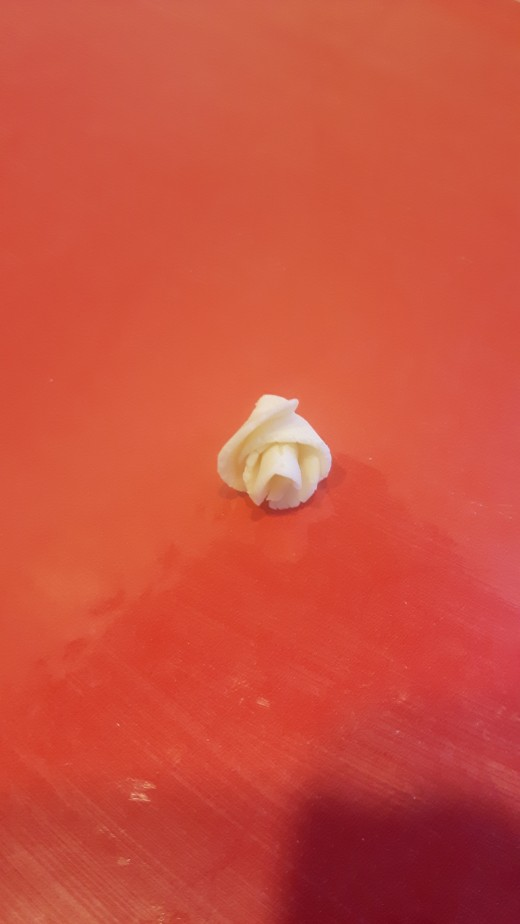 The modeling chocolate rose is taking shape