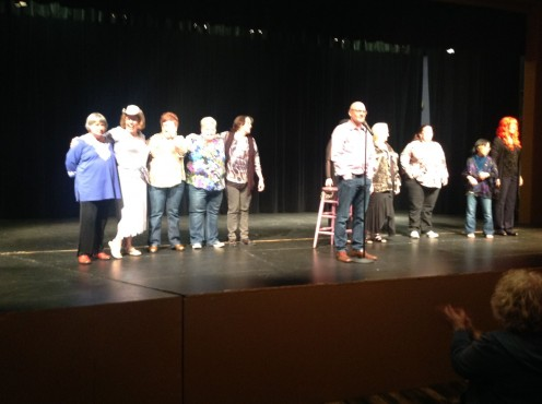 Comedian - Taking a bow with my comedy team.