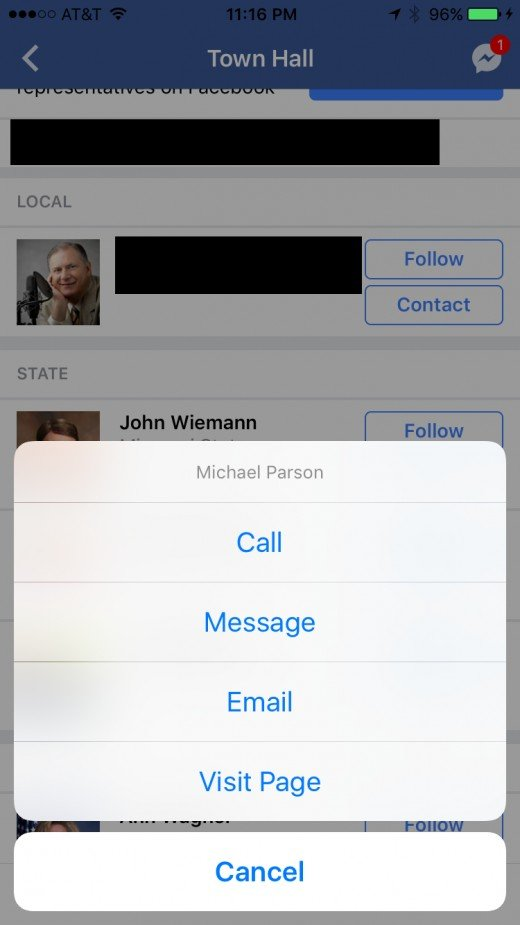 "Tapping ""Contact"" gives you the option to call, send a Facebook message, email, or visit the Facebook Page of the associated political representative."