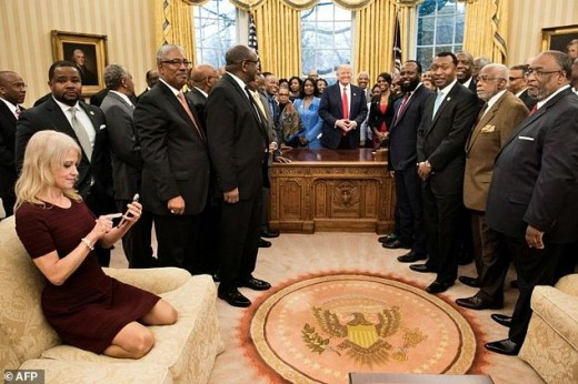 Kelly Anne Conway, one of President Trump's senior advisors in a business meeting.