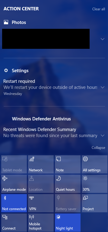 "Click ""Windows"" and ""A"" at the same time to open the Action Center on the right side of the screen. Click ""Settings."""