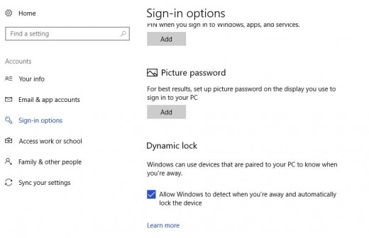 Click to enable the Dynamic Lock feature.