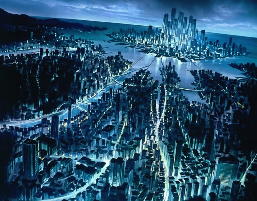 The megalopolis as depicted in Ghost In The Shell (1995).