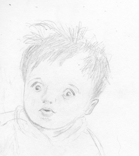 I enjoy children and their expressions and drawing them!