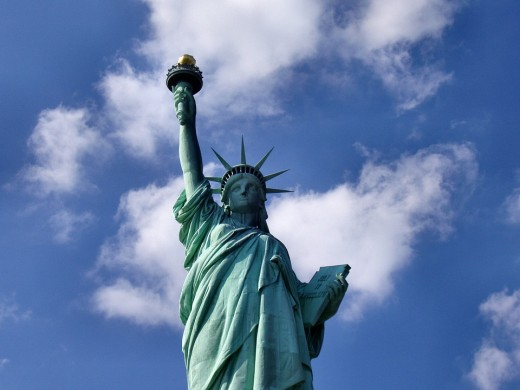 The Statue of Liberty is one of New York City's most famous landmarks.  A famous symbol of democracy and the USA, the statue has greeted millions of immigrants as they arrived by ship from across the Atlantic Ocean.