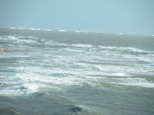 A photo of waves in the ocean near Virginia Beach.