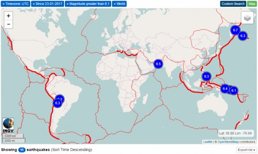 In top map, earthquakes of at least 6.1 magnitude were 40% more plentiful than normal, while in the bottom map such earthquakes were 45% less frequent than usual.