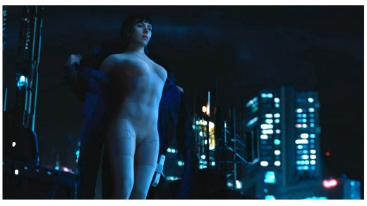 Scarlett Johansson (Motoko Kusanagi) as she takes off her coat exposing her thermo-optical suit.