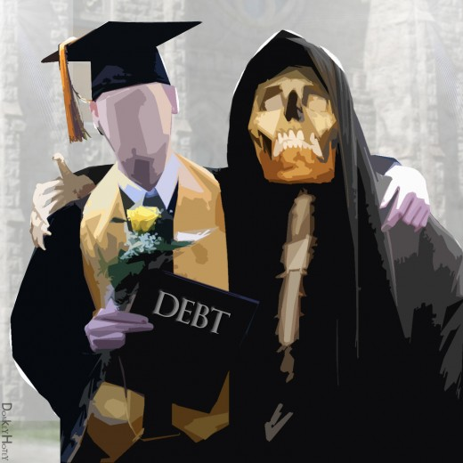 Indentured Student embraced by the Grim Reaper of Debt