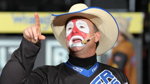 Flint Rasmussen, Worlds most famous  rodeo clown or barrel clown.