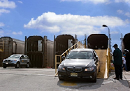 Unloading Cars from the Auto Train