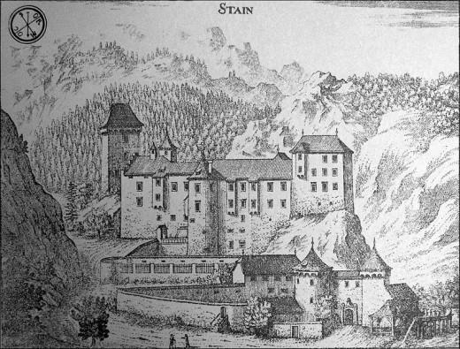 Castle Kamen on copper engraving of Janez Vajkard Valvasor (year 1689)
