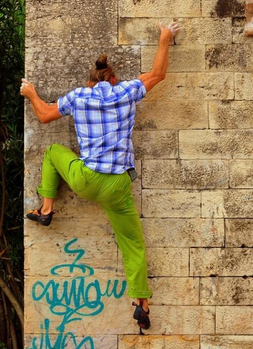 Street boulder rock climber.