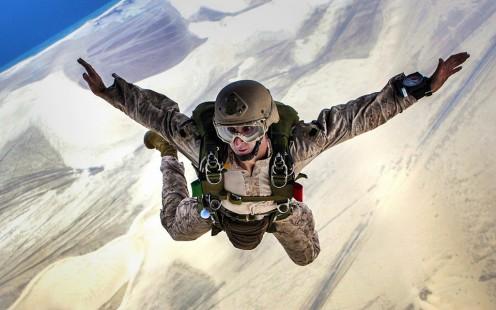 Solo skydiver.