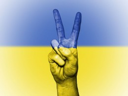 """The Ukrainian flag symbolizes the sky and the country's beautiful wheat field. - The country's name, Ukraina, in the local language, literally means """"at the border"""", The country borders seven others on all sides.  All the people want is peace."""