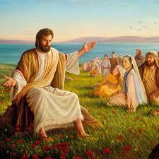 Jesus teaching some people.