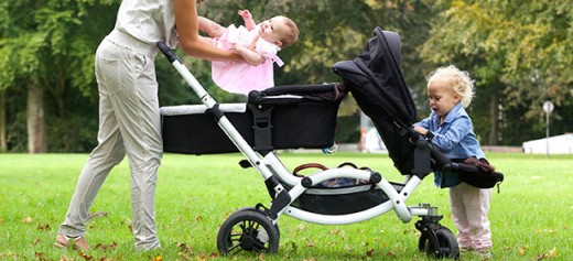 Double pram and pushchair
