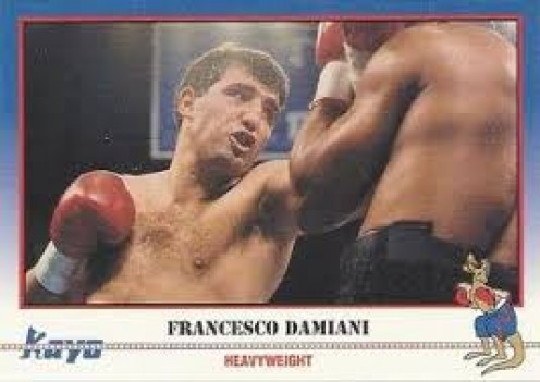 Francesco Damiani is seen above on the front of a Kayo boxing card in 1991.