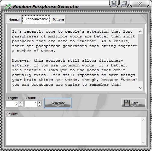 PassNGuard Random Passphrase Generator (Normal-Tab)