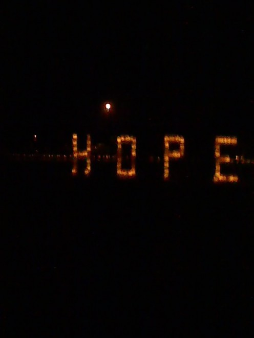 Candles spelling the word hope for inspiration.