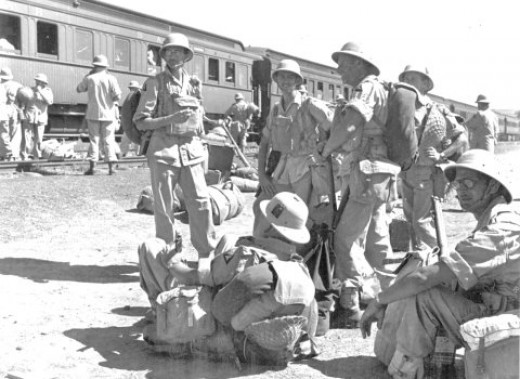 South African troops disembarking at Cullinan station
