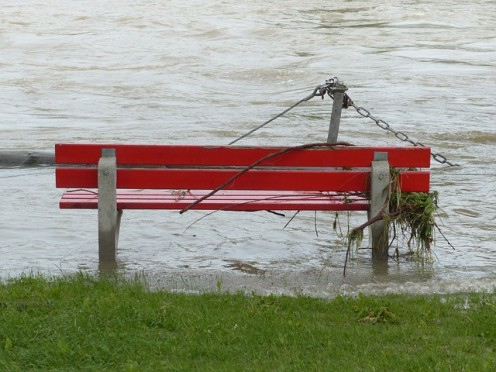 Flooded river banks