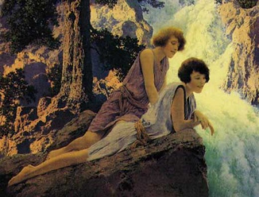 """The Waterfall"" by Maxfield Parrish"