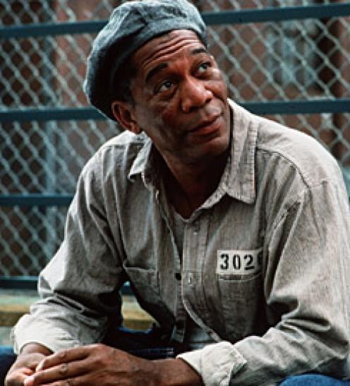 Morgan Freeman as Red in Shawshank Redemption.