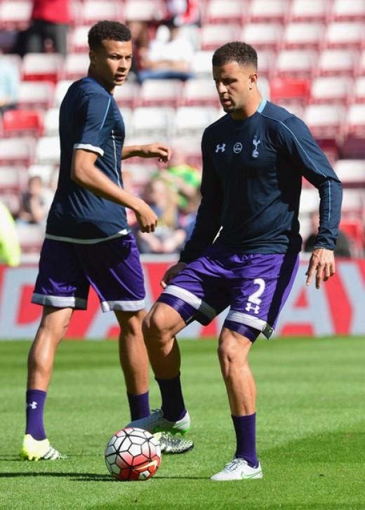 Kyle Walker and Dele Alli of Tottenham Hotspur