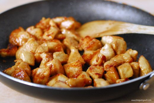 Fry the marinated chicken