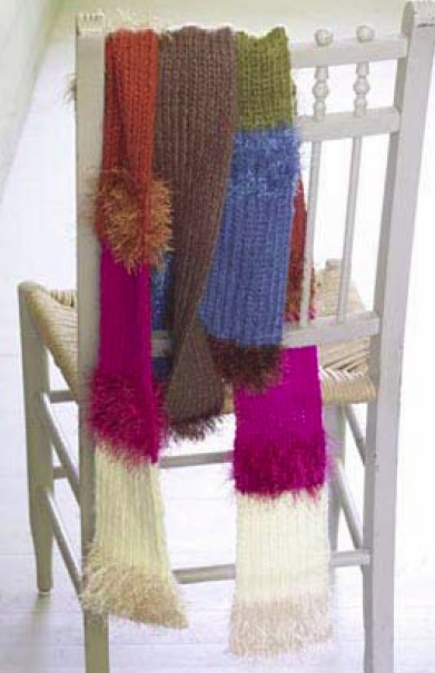 Fun Fur accents with worsted weight yarn.