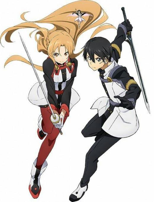 Kirito (right) and Asuna (left) as they appear in Ordinal Scale