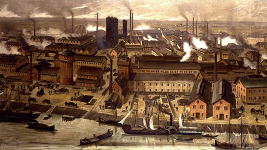 The massive BASF chemical factories in Ludwigshafen, Germany, 1881