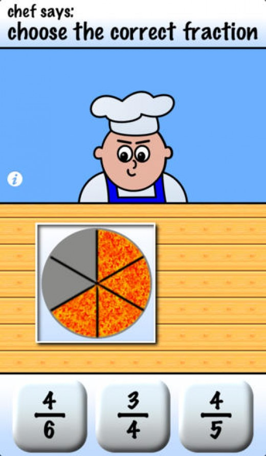 Pizza Math is a great fractions teaching app