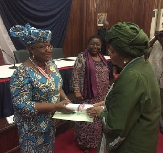 Dr.Ngozi Okonjo-Iweala was honored with National Awards in Liberia, by Her Excellency President Johnson  Sirleaf, Liberian President and Coted voire President Alassan Quattara