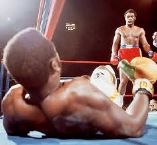 George Foreman knocked Joe Frazier down 6 times in two rounds to win the heavyweight title in 1973.